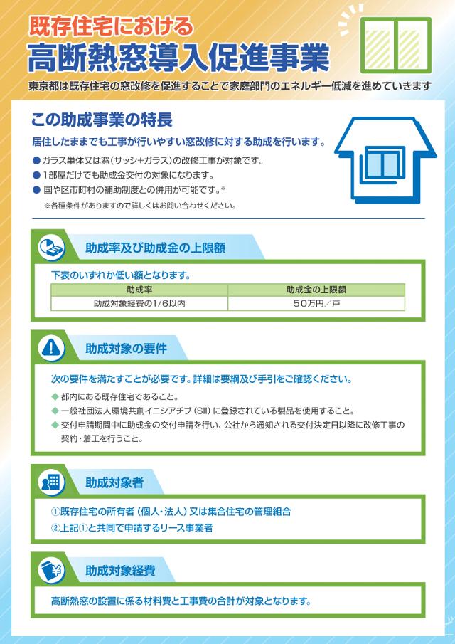 東京都では、都内の既存住宅に設置されている窓を高断熱窓に改修する方に対し、その経費の一部を助成する事業を実施しています。