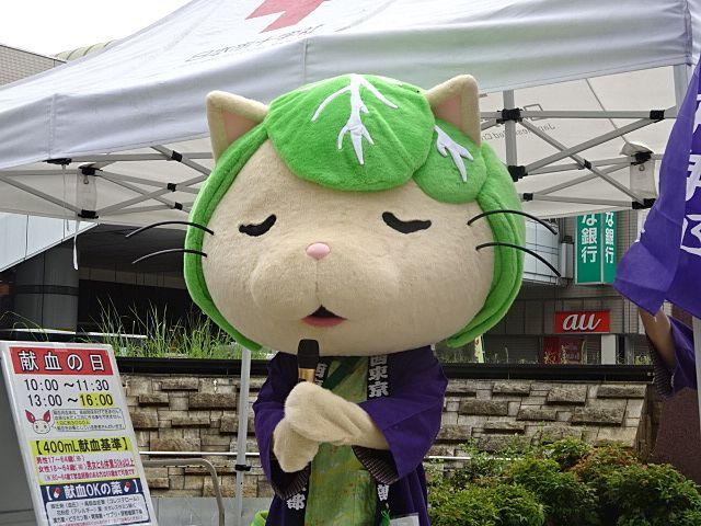 田無北口で献血のお願いをするキャベッツさん