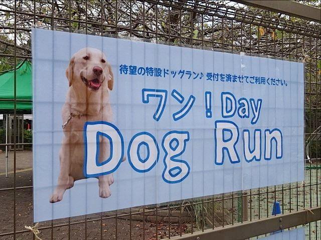 特設ドッグラン ワン!Day Dog Run会場の案内掲示板(2019.10.4)