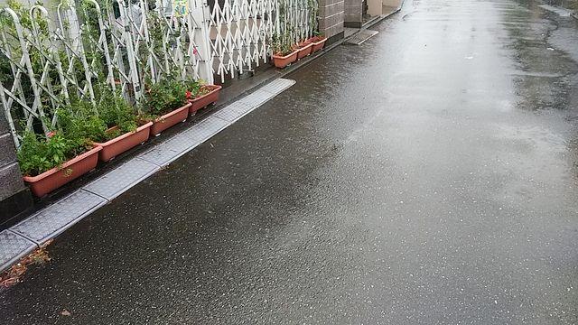 段差解消プレートによる道路の浸水