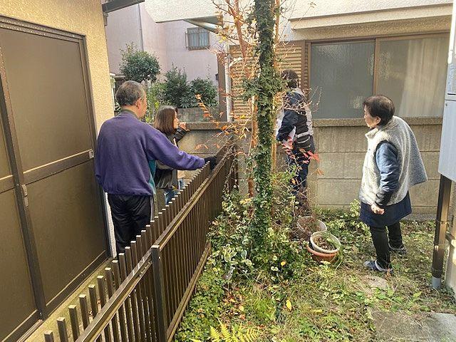 西東京市南町2丁目、近隣の方に協力いただき、境界の確認作業をしました。