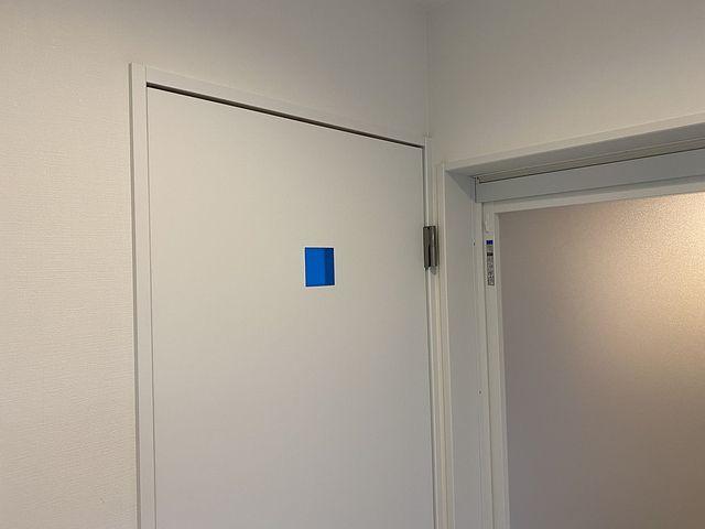 西東京市内の新築住宅の洗面化粧室のドア (2020.1.28) スプラッシュ