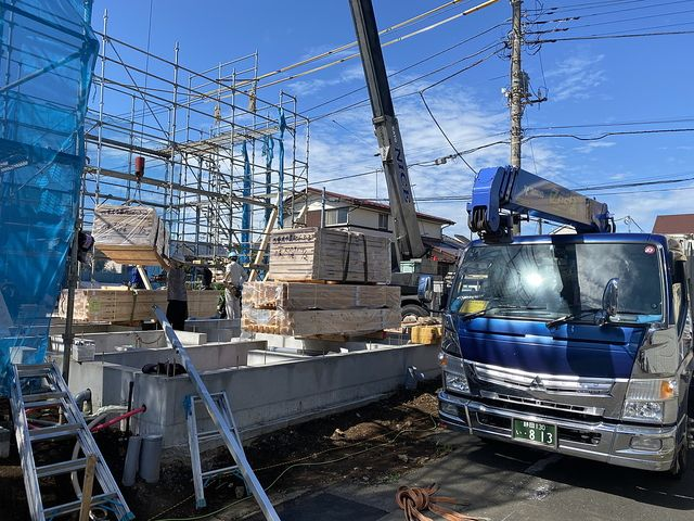 西東京市泉町6丁目の現場(2020.6.12)資材搬入作業