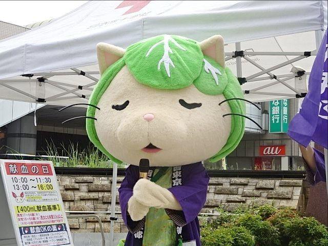 田無駅北口にて献血のお願いをするキャベッツさん スプラッシュ