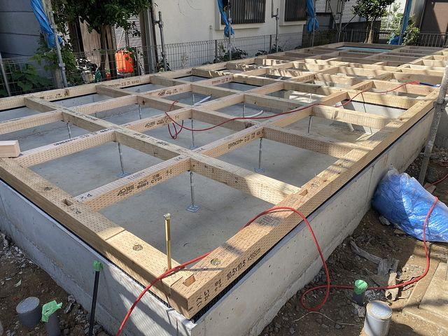 練馬区関町北4丁目の新築一戸建ての土台の写真(2020.8.29)