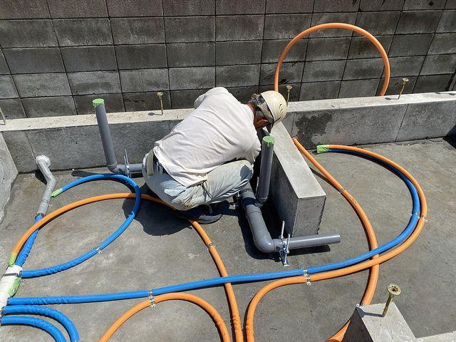 給排水設備工事をする西東京市下保谷3丁目の新築一戸建て現場(2021.4.15)スプラッシュ
