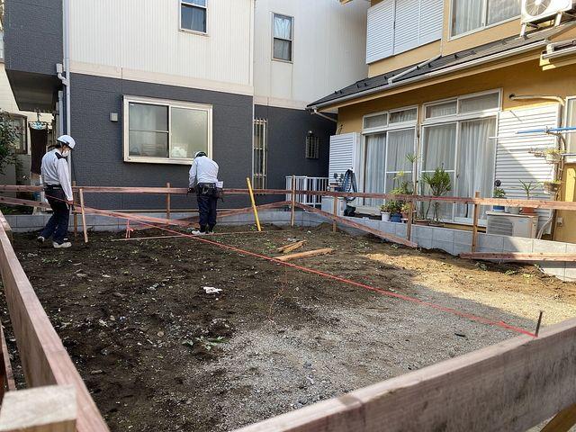 保谷町3丁目の新築一戸建て現場の遣り方の様子(2021.10.8)スプラッシュ