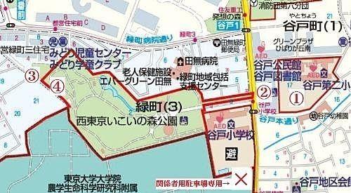 西東京市民まつりの駐輪場の案内図