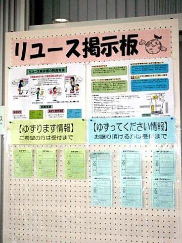 エコプラザ西東京内に掲示されるリユース掲示板
