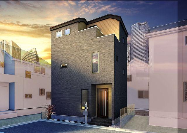 渋谷区本町6丁目新築住宅の外観パース